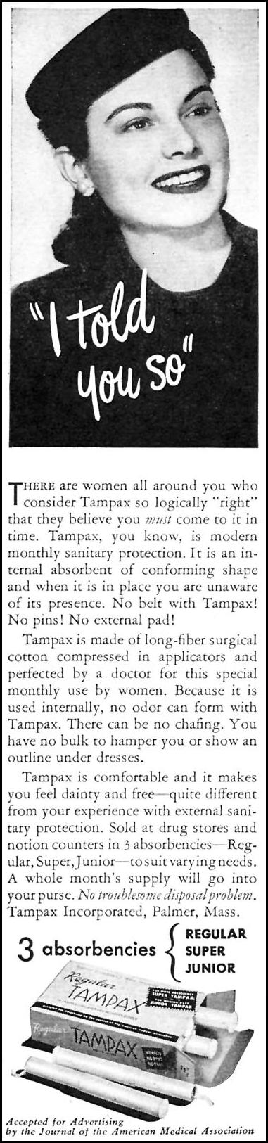 TAMPAX WOMAN'S DAY 05/01/1946 p. 60