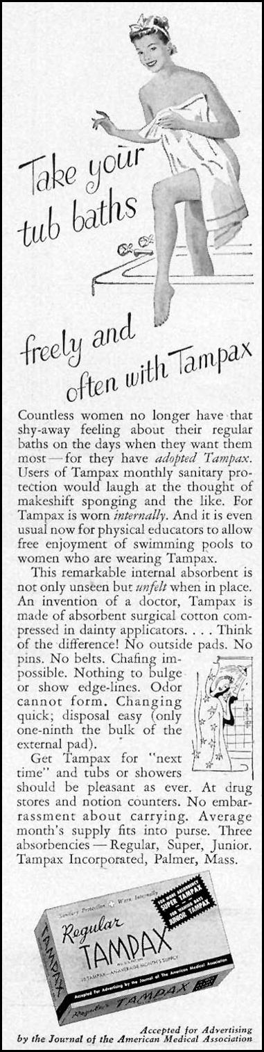 TAMPAX WOMAN'S DAY 05/01/1949 p. 96