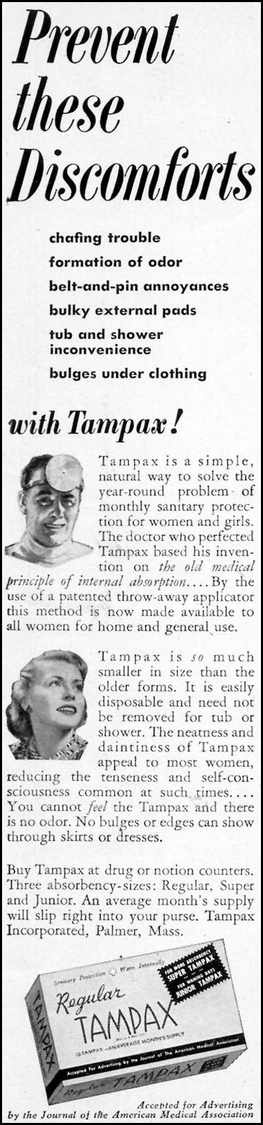 TAMPAX WOMAN'S DAY 05/01/1950 p. 22