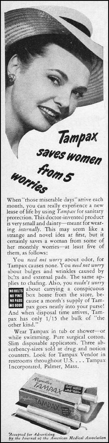 TAMPAX WOMAN'S DAY 06/01/1947 p. 6