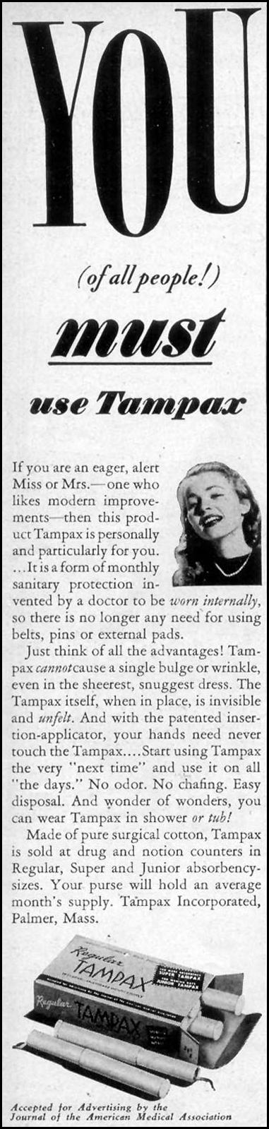 TAMPAX WOMAN'S DAY 09/01/1947 p. 72