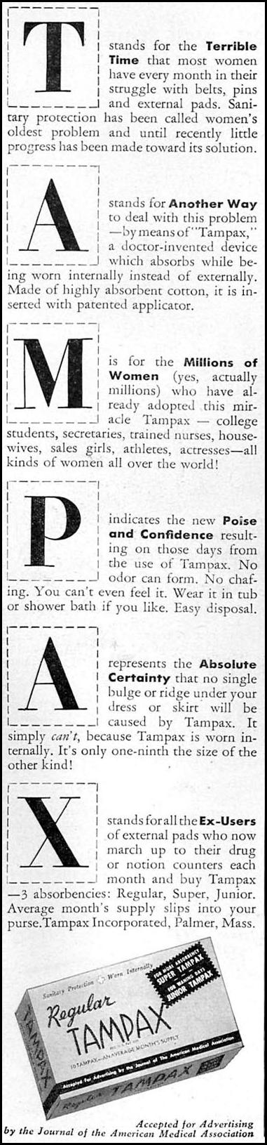 TAMPAX WOMAN'S DAY 09/01/1949 p. 70