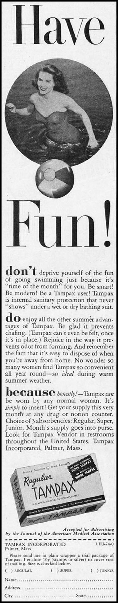 TAMPAX LADIES' HOME JOURNAL 07/01/1954 p. 88