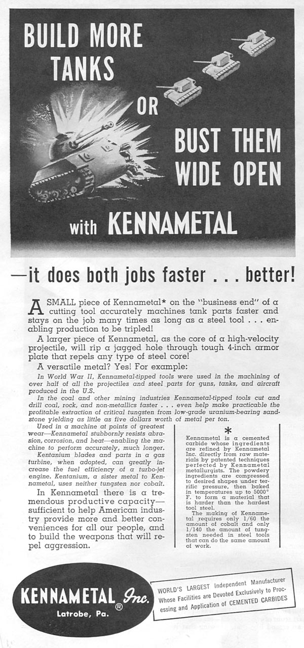 KENNAMETAL CEMENTED CARBIDES NEWSWEEK 08/20/1951 p. 10