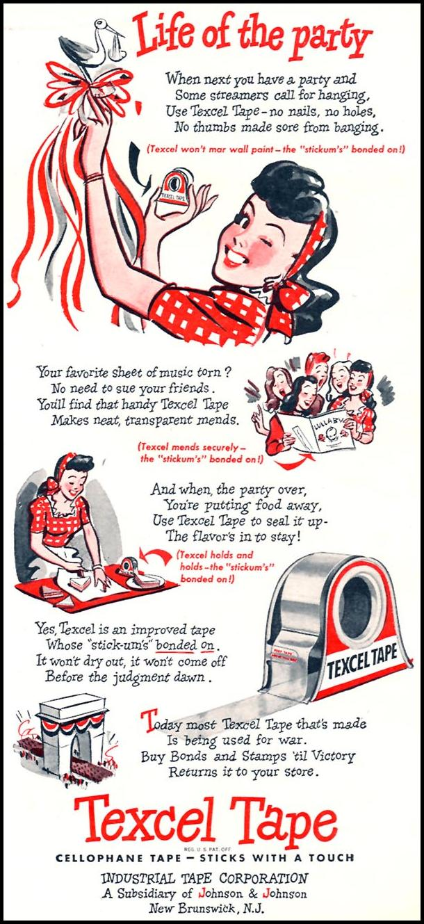 TEXCEL CELLOPHANE TAPE WOMAN'S DAY 07/01/1945 p. 15