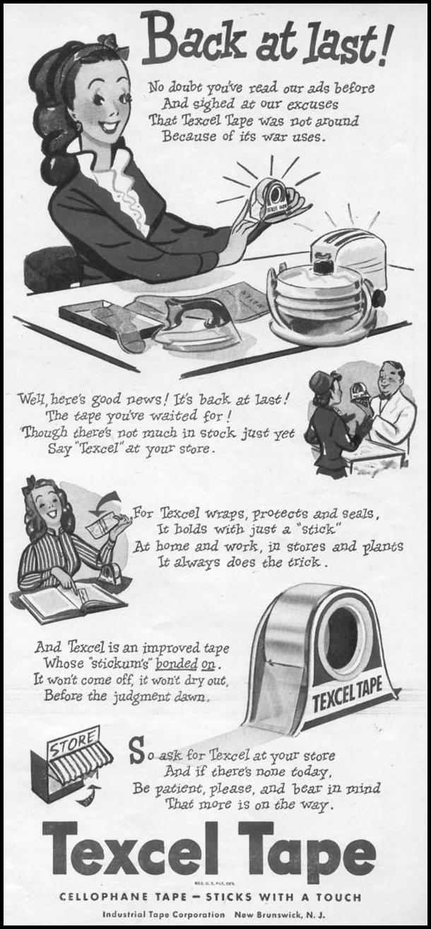 TEXCEL CELLOPHANE TAPE WOMAN'S DAY 11/01/1945 p. 63