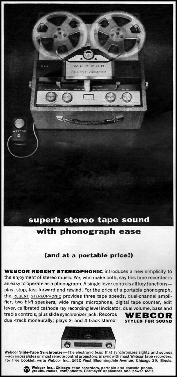 WEBCOR REGENT STEREOPHONIC TAPE PLAYER TIME 02/08/1963 p. 82