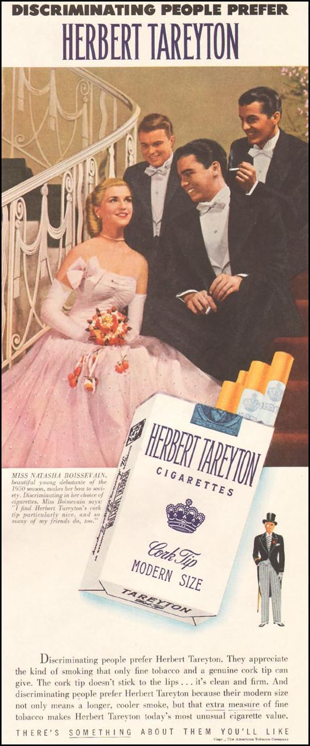 TAREYTON CIGARETTES LADIES' HOME JOURNAL 11/01/1950 p. 154