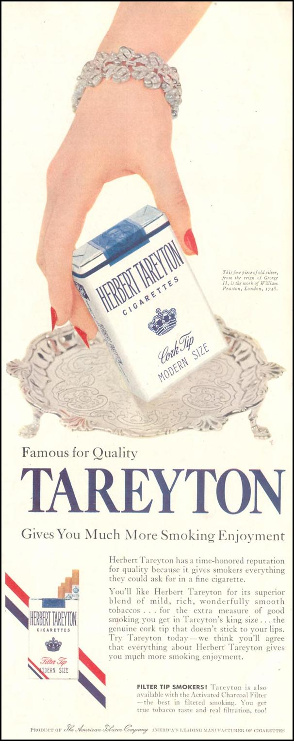 TAREYTON CIGARETTES SATURDAY EVENING POST 04/09/1955 p. 47