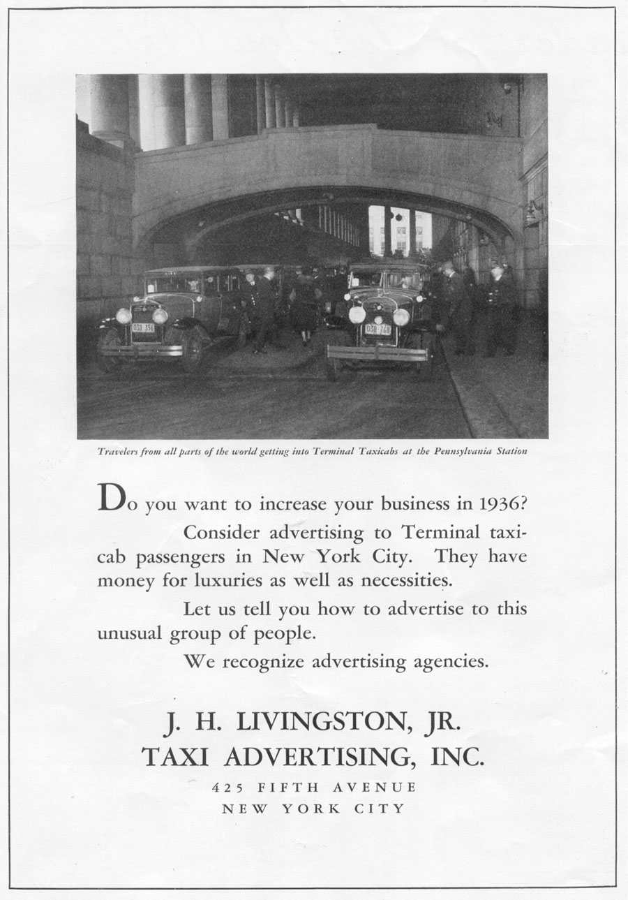 TAXI ADVERTISING NEWSWEEK 11/09/1935 p. 24