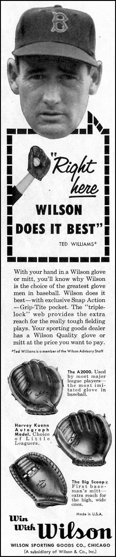 WILSON BASEBALL GLOVES SATURDAY EVENING POST 05/02/1959 p. 120
