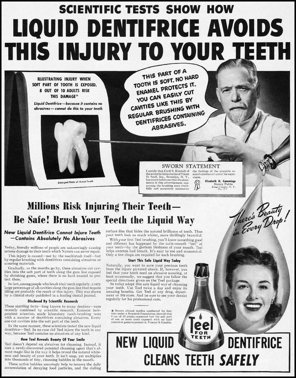 TEEL LIQUID DENTIFRICE LIFE 08/04/1941 p. 62