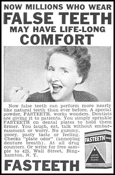FASTEETH DENTURE ADHESIVE WOMAN'S DAY 09/01/1955 p. 130