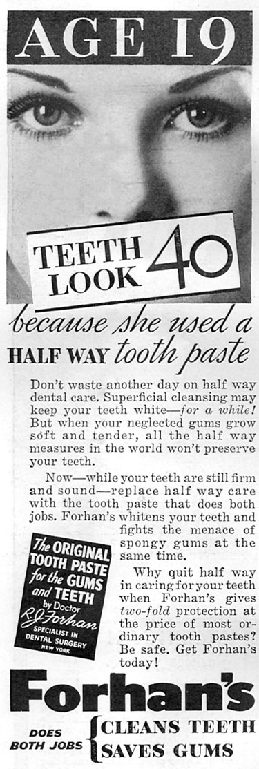 FORHAN'S TOOTHPASTE GOOD HOUSEKEEPING 04/01/1936 p. 244