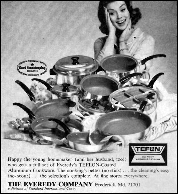 EVEREDY TEFLON-COATED ALUMINUM COOKWARE GOOD HOUSEKEEPING 10/01/1965 p. 244
