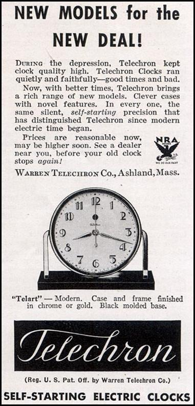 TELECHRON ELECTRIC CLOCKS GOOD HOUSEKEEPING 11/01/1933 p. 199