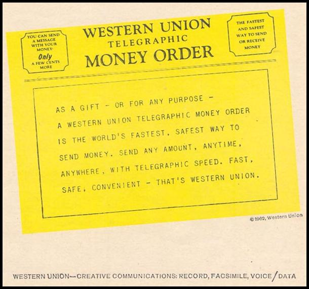 WESTERN UNION TELEGRAPHIC MONEY ORDER TIME 07/13/1962 p. 55
