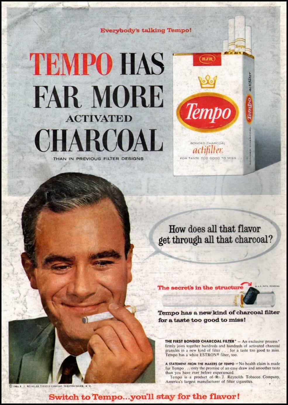 TEMPO CIGARETTES NEWSWEEK 08/24/1964 BACK COVER