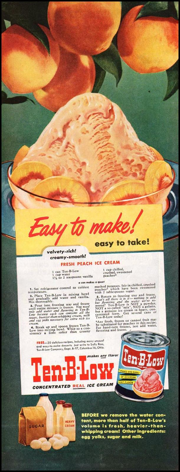 TEN-B-LOW ICE CREAM CONCENTRATE LADIES' HOME JOURNAL 07/01/1949 p. 96