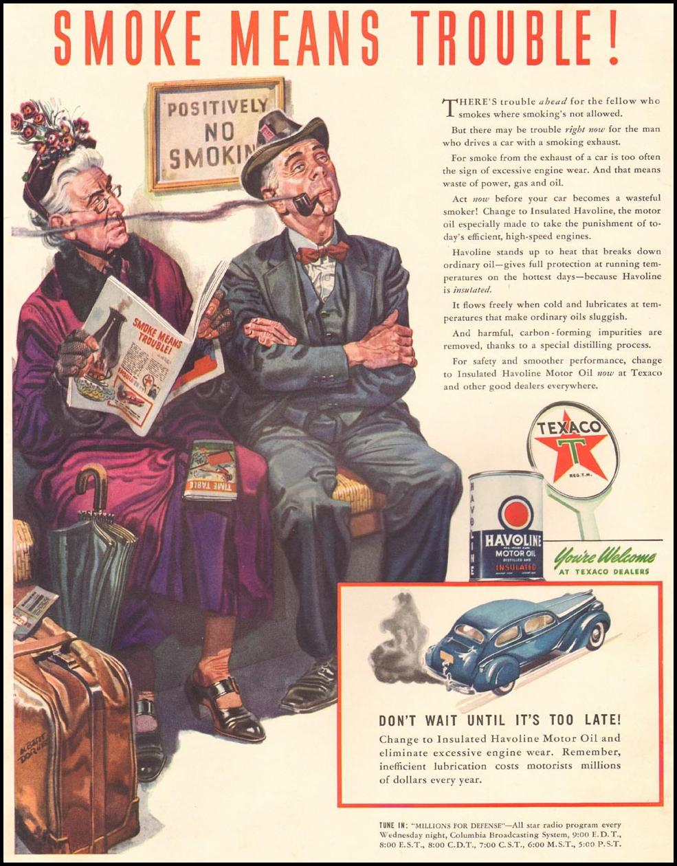 TEXACO HAVOLINE MOTOR OIL LIFE 08/04/1941 INSIDE FRONT