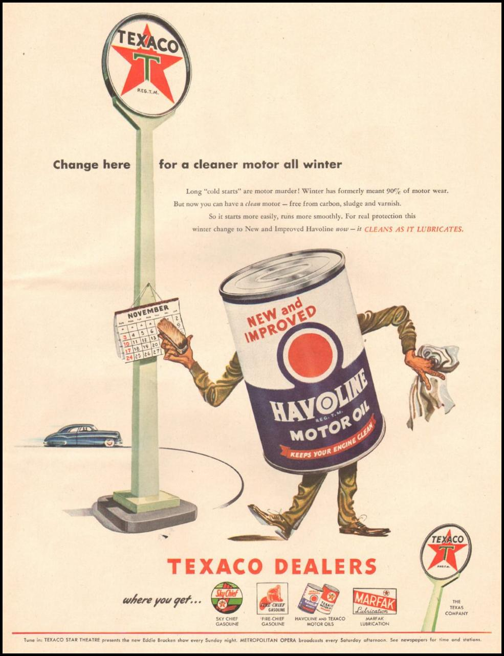 TEXACO HAVOLINE MOTOR OIL LIFE 11/25/1946