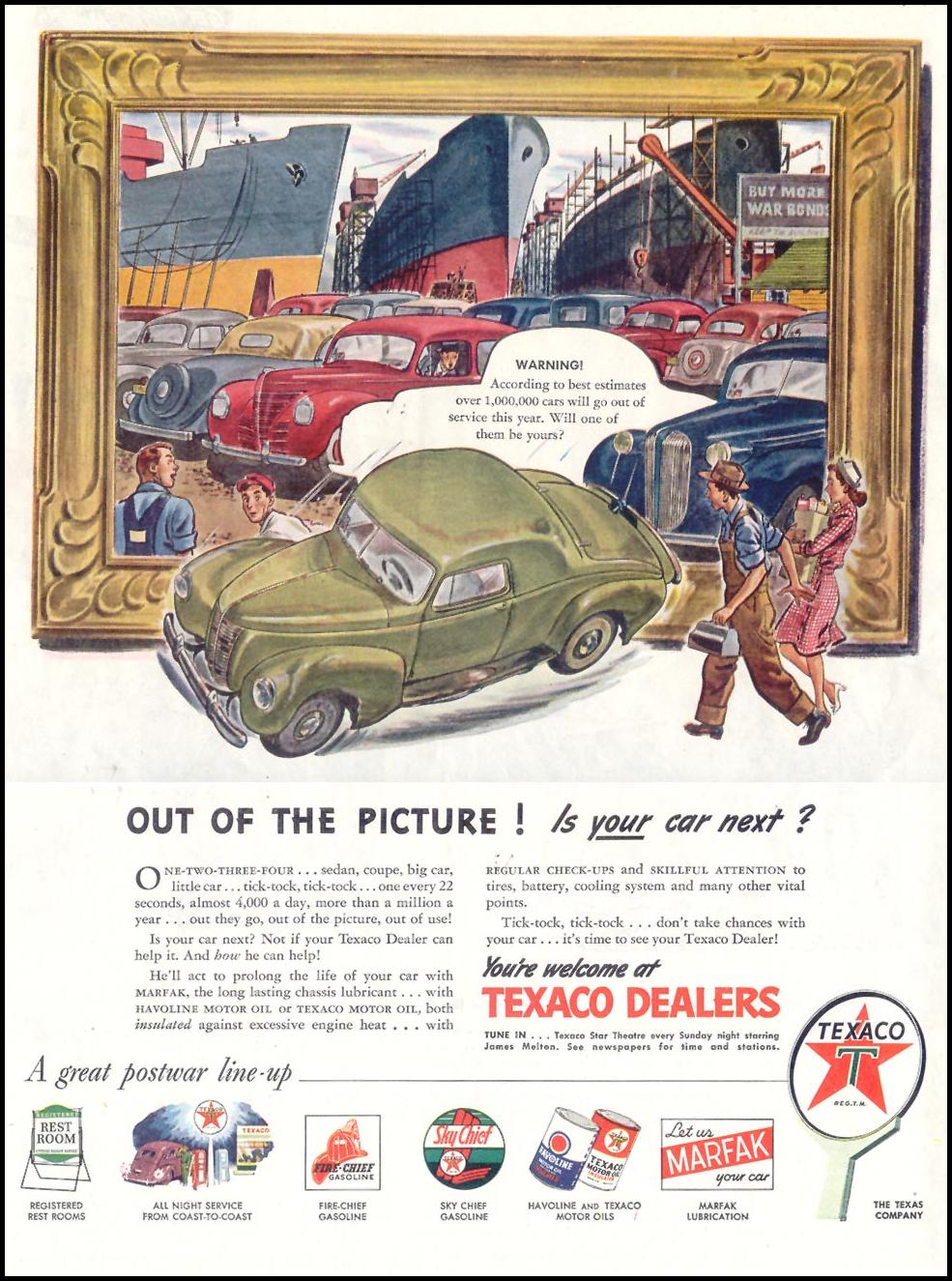 TEXACO PRODUCTS SATURDAY EVENING POST 05/19/1945