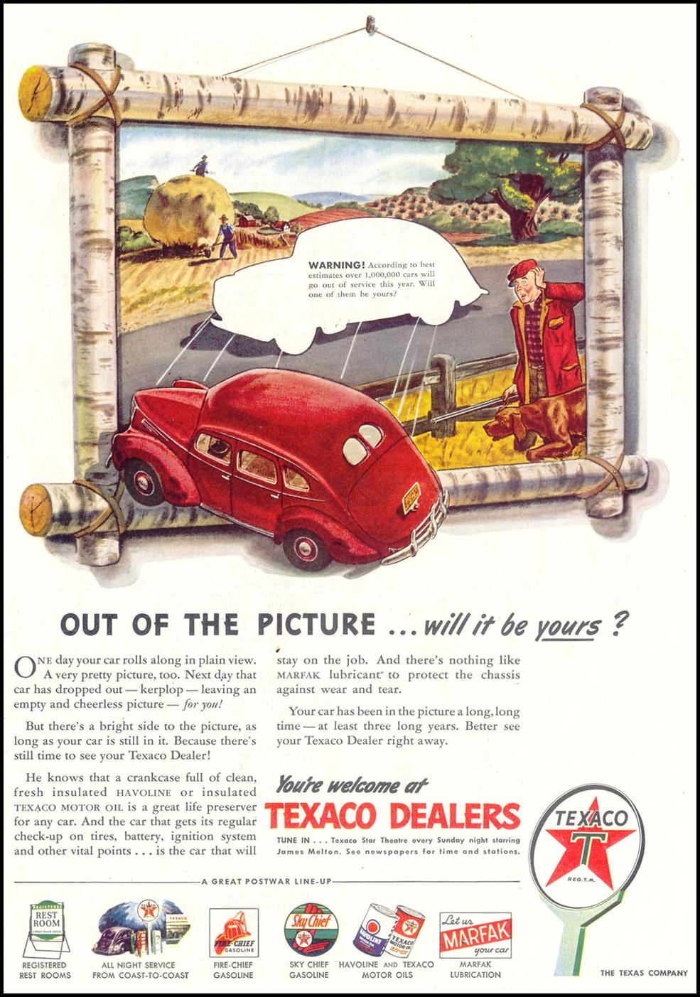 TEXACO PRODUCTS SATURDAY EVENING POST 10/06/1945 p. 38