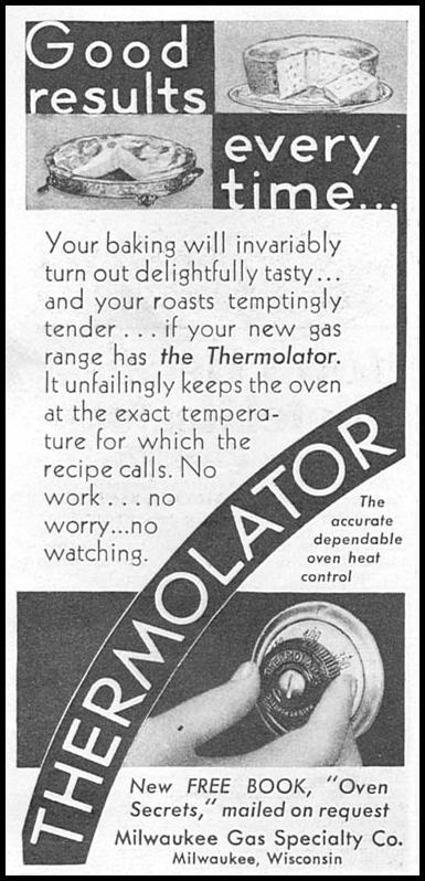 THERMOLATOR OVEN HEAT CONTROL GOOD HOUSEKEEPING 01/01/1932 p. 166
