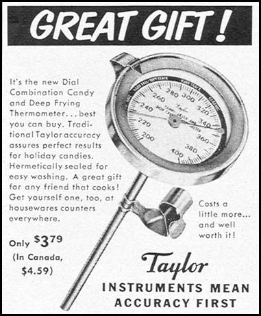 TAYLOR COMBINATION CANDY AND DEEP FRYING THERMOMETER WOMAN'S DAY 12/01/1954 p. 133