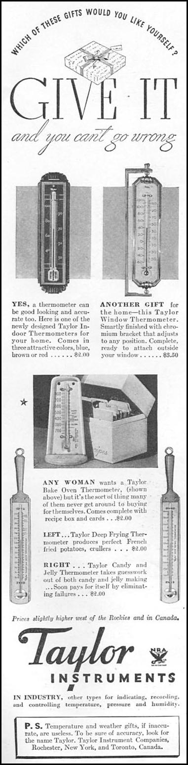 TAYLOR THERMOMETERS GOOD HOUSEKEEPING 12/01/1934 p. 142
