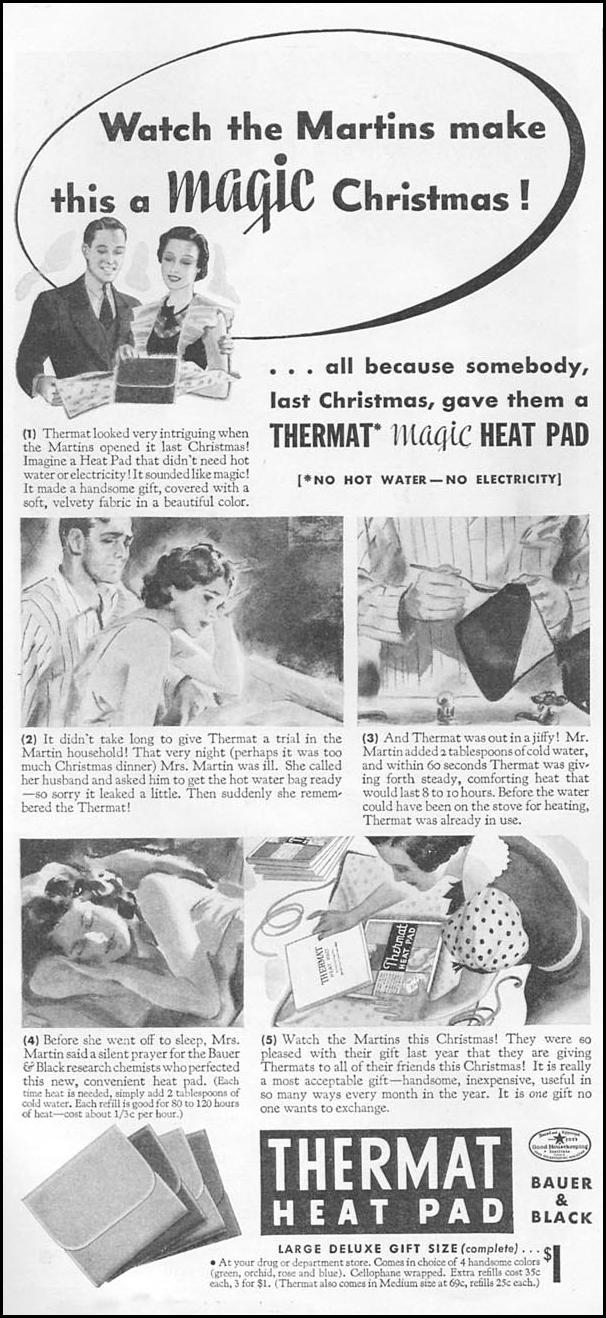 THERMAT HEAT PAD GOOD HOUSEKEEPING 12/01/1934 p. 186