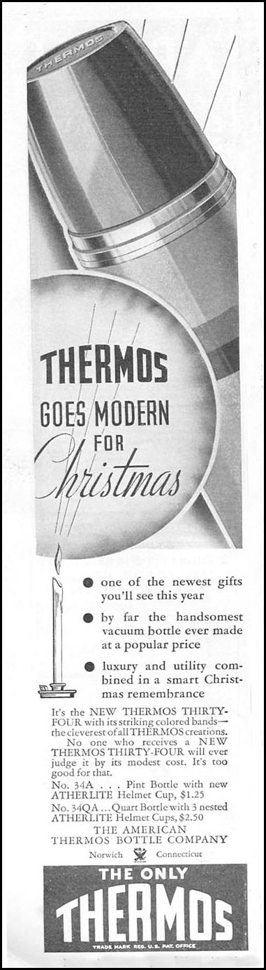 THERMOS INSULATED VACUUM BOTTLE GOOD HOUSEKEEPING 12/01/1934 p. 204