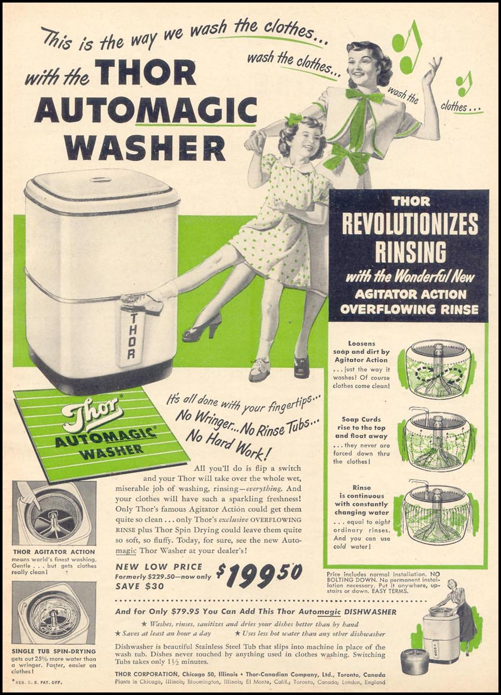 THOR AUTOMAGIC WASHER WOMAN'S DAY 06/01/1949 p. 7