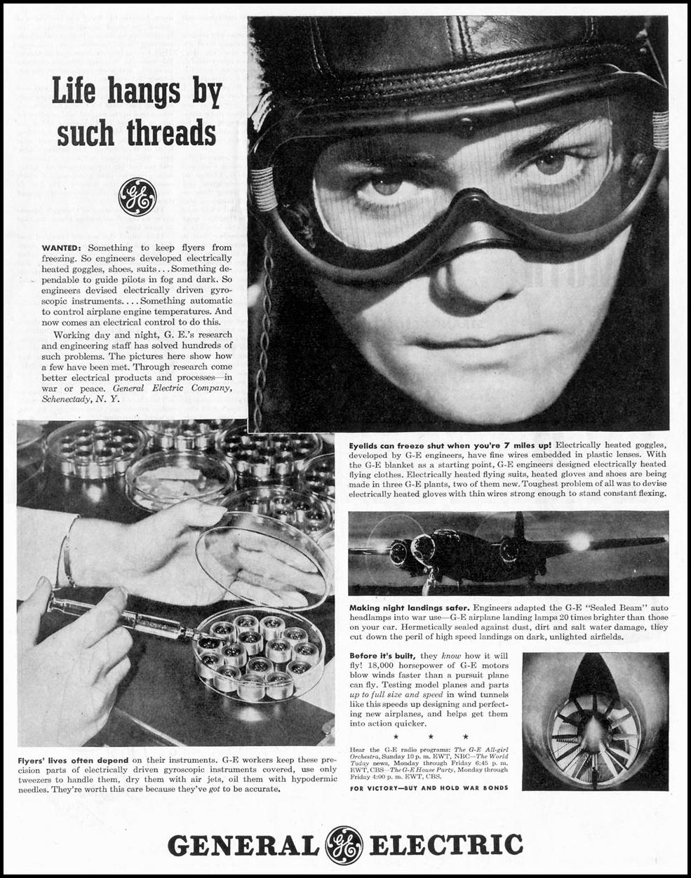 GENERAL ELECTRIC WAR PRODUCTION SATURDAY EVENING POST 05/19/1945 p. 43