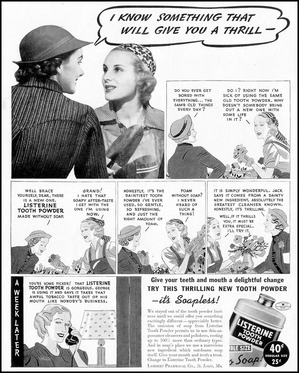 LISTERINE SOAPLESS TOOTH POWDER LIFE 09/13/1937 p. 22