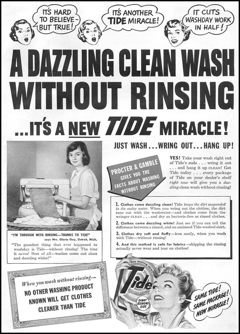 TIDE DETERGENT WOMAN'S DAY 06/01/1950 p. 101