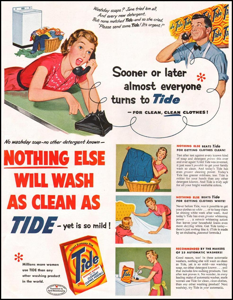 TIDE DETERGENT LADIES' HOME JOURNAL 06/01/1954 p. 5