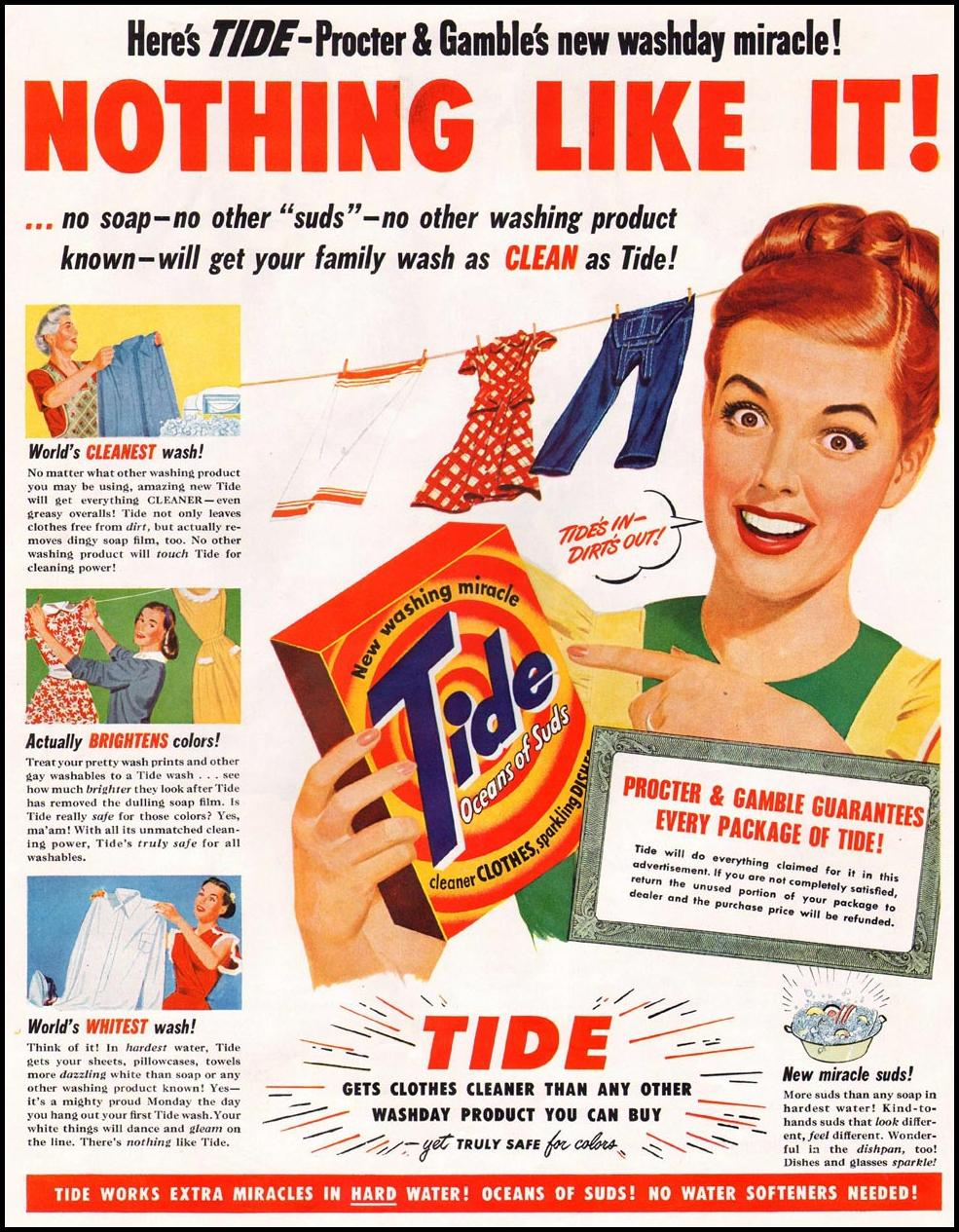 TIDE DETERGENT LADIES' HOME JOURNAL 07/01/1949 p. 10