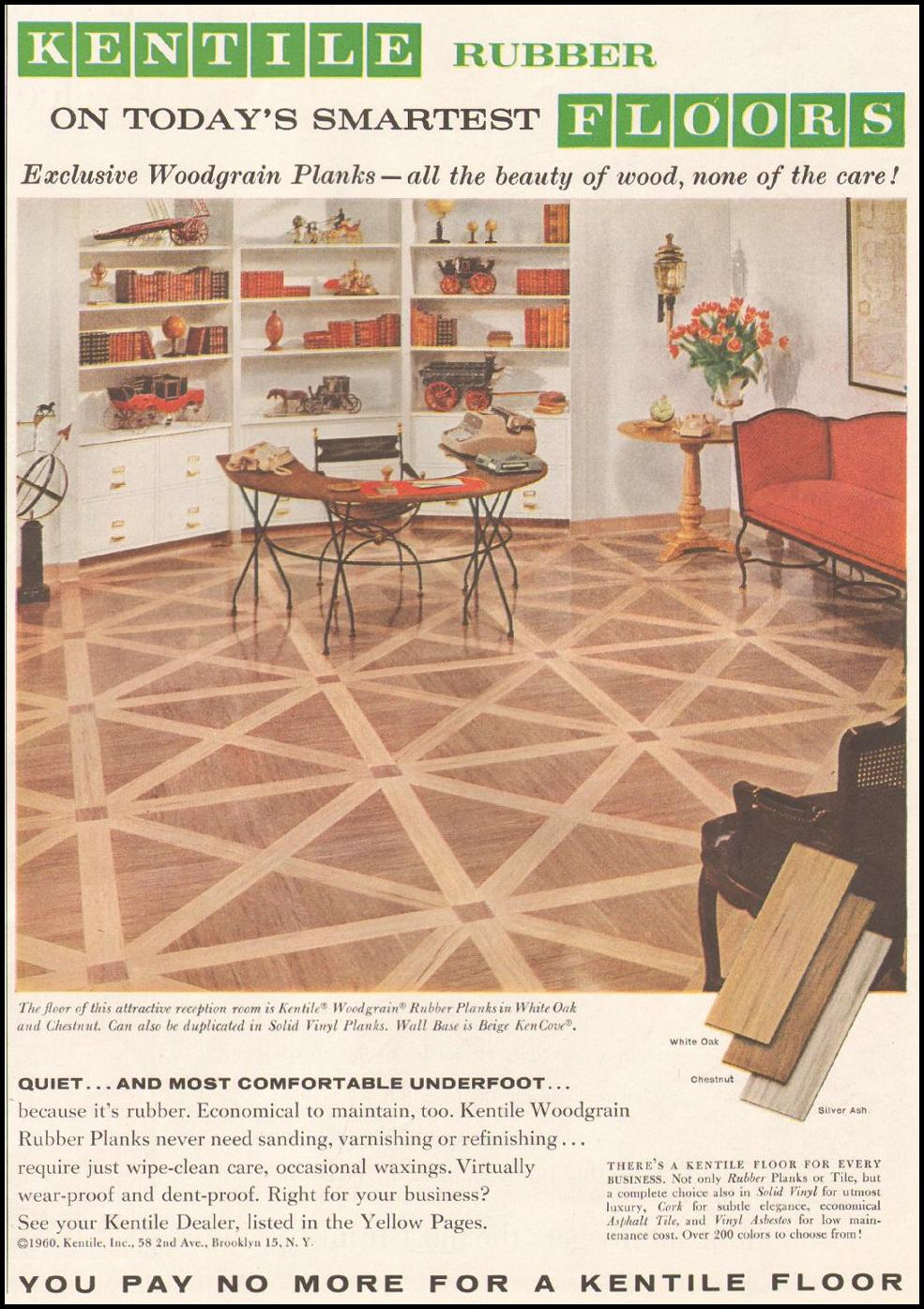 KENTILE WOODGRAIN RUBBER PLANKS SATURDAY EVENING POST 06/11/1960 p. 105