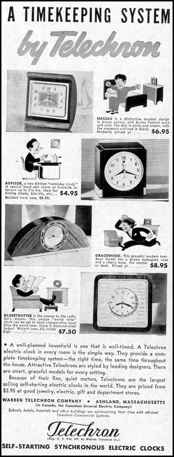 TELECHRON SELF-STARTING SYNCHRONOUS ELECTIC CLOCKS LIFE 09/13/1937 p. 81