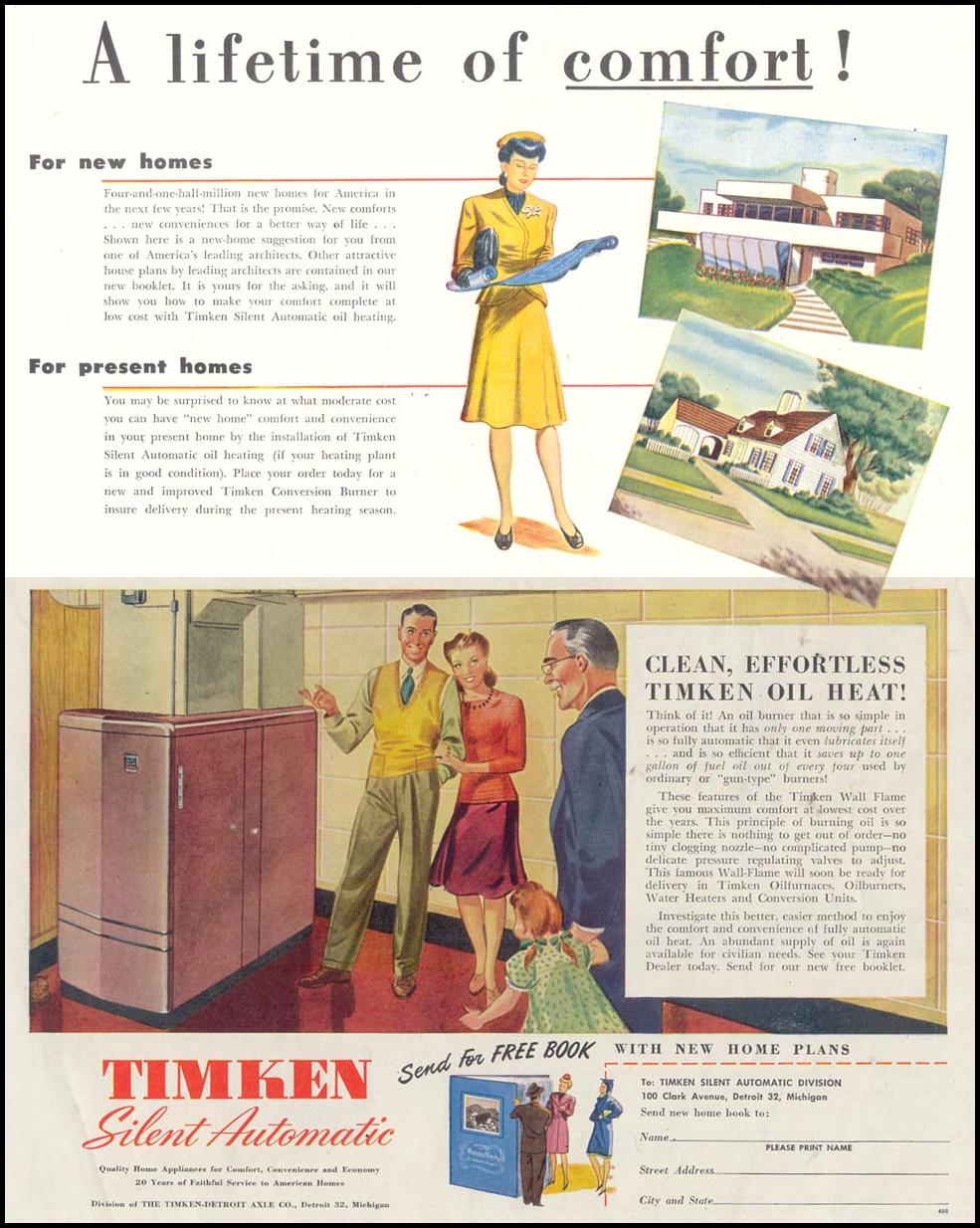 TIMKEN SILENT AUTOMATIC FURNACE SATURDAY EVENING POST 10/06/1945