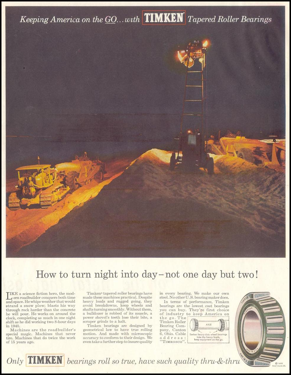 TIMKEN TAPERED ROLLER BEARINGS SATURDAY EVENING POST 12/10/1955