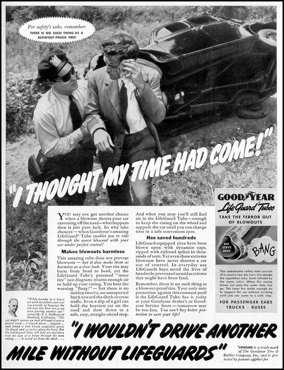 GOODYEAR LIFEGUARD TIRES LIFE 09/06/1937 p. 93