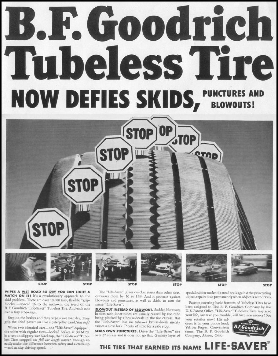 B. F. GOODRICH TUBELESS TIRES LIFE 10/13/1952 p. 1
