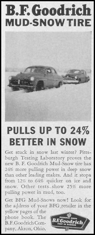 B. F. GOODRICH MUD-SNOW TIRE LIFE 12/24/1951 p. 61