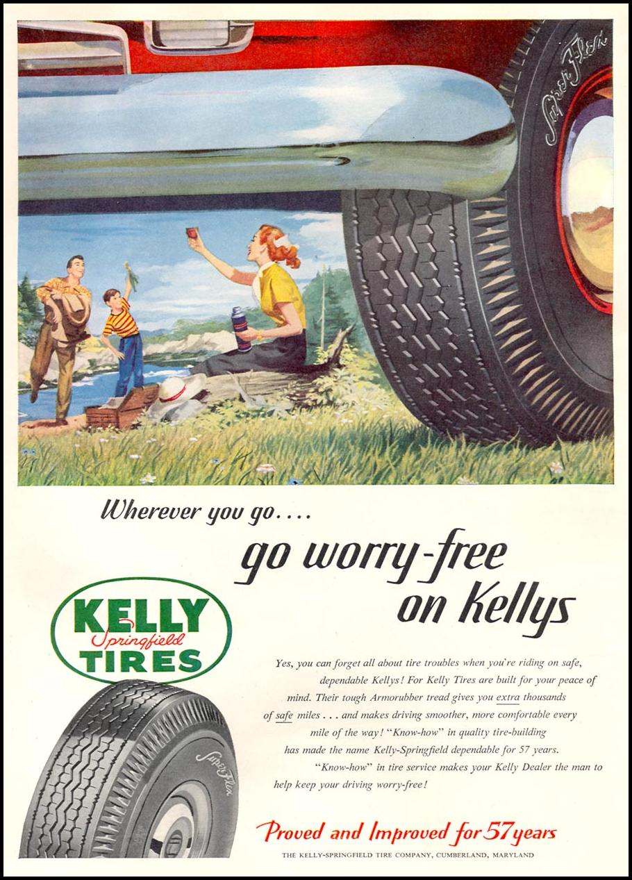 KELLY-SPRINGFIELD TIRES NEWSWEEK 08/20/1951 p. 12