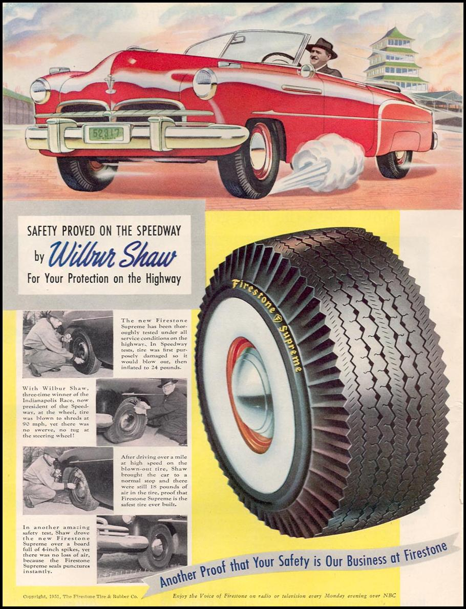 FIRESTONE SUPREME TIRES NEWSWEEK 08/20/1951 p. 40