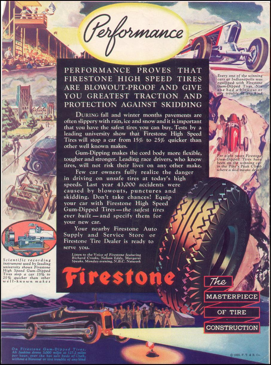 FIRESTONE GUM-DIPPED TIRES NEWSWEEK 11/09/1935 BACK COVER