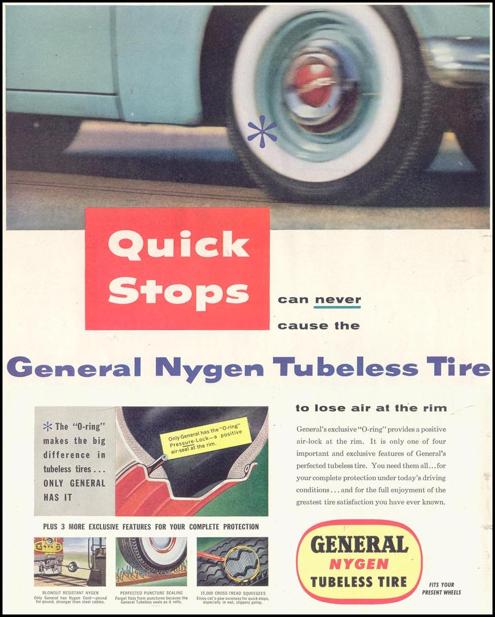 GENERAL NYGEN TUBELESS TIRE SATURDAY EVENING POST 03/26/1955 p. 18