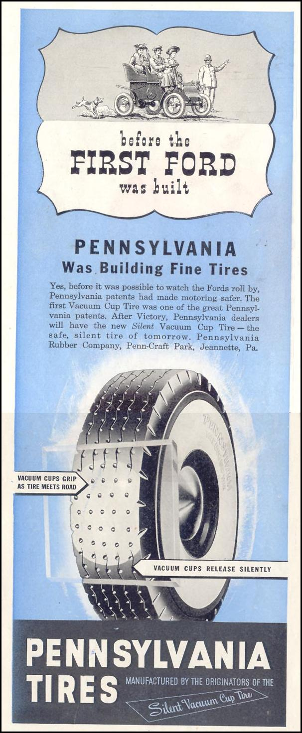 PENNSYLVANIA SILENT VACUUM CUP TIRES SATURDAY EVENING POST 05/19/1945 p. 94